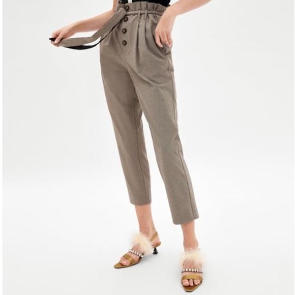10925f5e Zara Pants | Nwt Check Paper Bag Buttoned | Poshmark